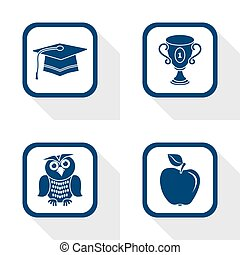 flat design icons education set - graduation, cup, apple, owl