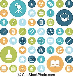 Flat design icons for education, science and medical