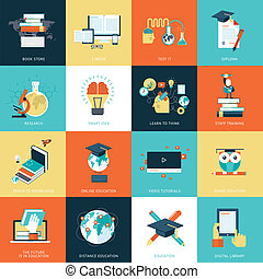 Flat design icons for education - Set of flat design icons...