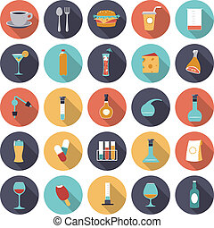 Flat design icons for food and drinks industry. Vector eps10...
