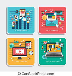 flat design icons for marketing concepts