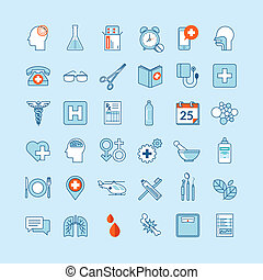 Flat design icons for medicine