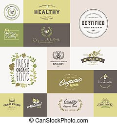 Flat design icons for organic food