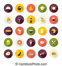 Flat design icons for restaurant - Set of flat design icons...