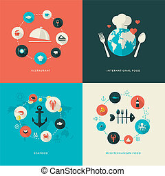 Flat design icons for restaurant - Set of flat design...