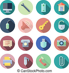 Flat Design Icons For User Interface. Vector illustration ...