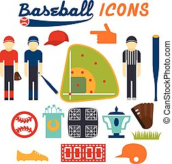 flat design icons of baseball