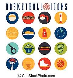 flat design icons of basketball