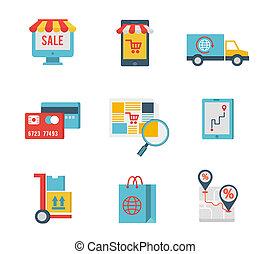 Flat design icons of e-commerce symbols and internet shopping elements