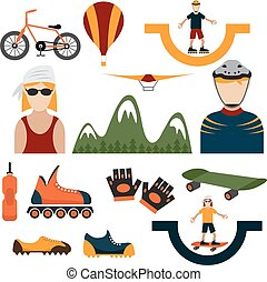 flat design icons of extreme sport theme