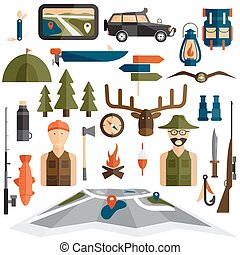 flat design icons of fishing and hunting theme