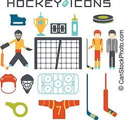 flat design icons of hockey