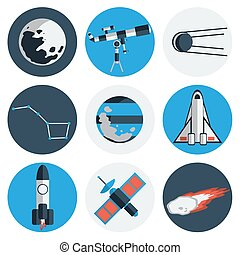 Flat design icons of space and astronomy.