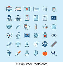 Flat design icons on medicine theme