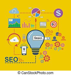 Flat design icons set of SEO vector illustration