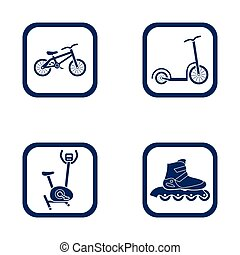 flat design icons sport set - bike, scooter, hometrainer and inline roller