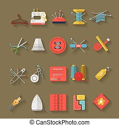 Flat design icons vector collection of sewing items