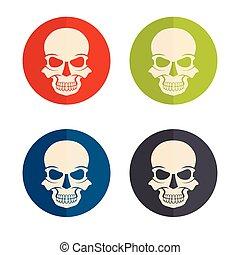 flat design icons with skulls