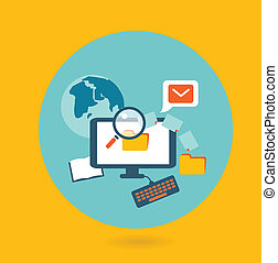 Flat design illustration concept for computer work