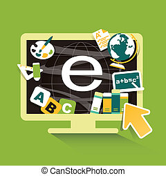 flat design illustration concept for online education
