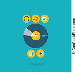 Flat design illustration concept for listening to music