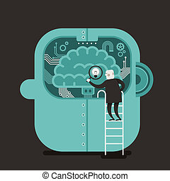 flat design illustration concept of brain searching - flat...