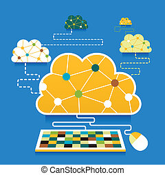 flat design illustration concept of cloud computing