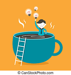 flat design illustration concept of coffee and idea