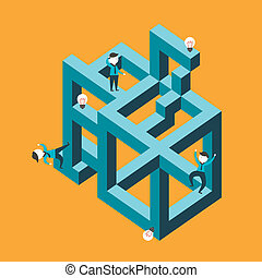 flat design vector illustration concept of confused