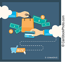 flat design illustration concept of e-commerce