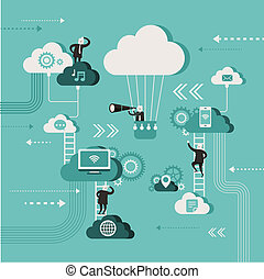flat design illustration concept of explore cloud network -...