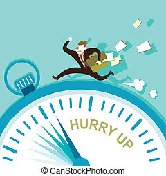 flat design illustration concept of hurry up - flat design...