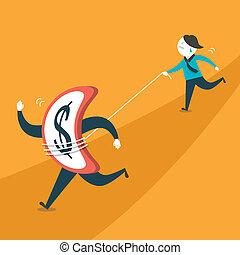 flat design illustration concept of money do not go