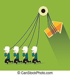 flat design illustration concept of teamwork
