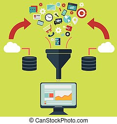 Flat design illustration concepts for creative process, big data filter, data tunnel, analysis concept