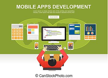 Flat design illustration concepts for mobile apps development, programming, programmer, developer, development, application development, brainstorm, coding.