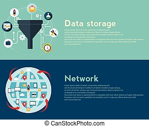 Flat design illustration concepts for creative process, big data filter, network, data tunnel, analysis concept, web banner