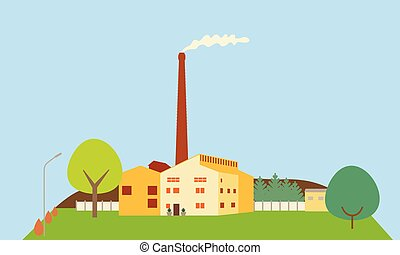 Flat design illustration of a factory with chimney and smoke, on a hill with trees, under a blue sky