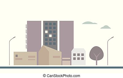 Flat design illustration of a housing estate in a city with buildings, lamps and trees, under the sky with clouds
