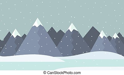 Flat design illustration of a winter mountain landscape with frozen lake and snow