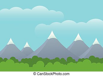 Flat design illustration of landscape with green forest and mountains with snow on the top, under blue sky with clouds -  with space your text