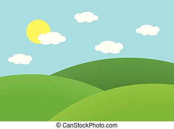 Flat design illustration of landscape with meadow and hill under blue sky with sun and clouds