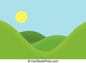Flat design illustration of landscape with meadow and hill under blue sky with sun