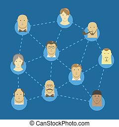 Flat design illustration of modern network
