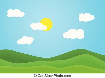 Flat design illustration of summer mountain landscape with green grassy hill under a clear blue sky with white clouds and shining sun