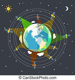 Flat design illustration of the Earth in space and satellites