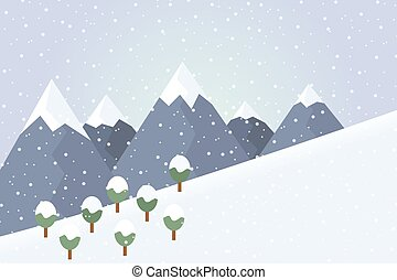 Flat design illustration of winter mountain landscape with trees and snow