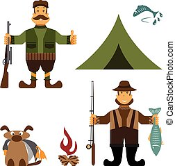 Flat design illustration with fisherman and hunter icons. Vector