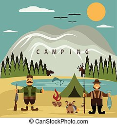 Flat design illustration with fisherman and hunter. Vector