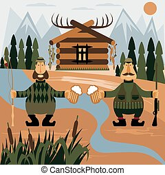 Flat design illustration with fisherman and hunter with beer. Vector
